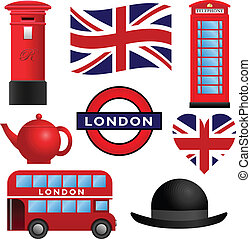 londres, voyage, -, royaume-uni, icônes