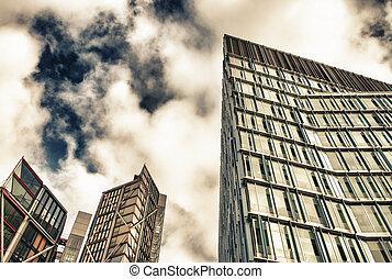 londres, vue, moderne, rue, bâtiments