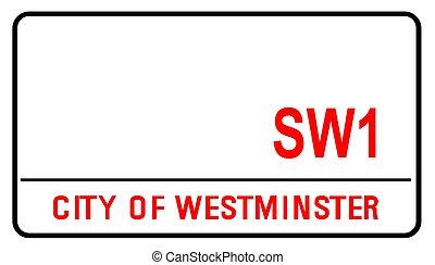 londres, westminster, calle, muestra en blanco, ciudad