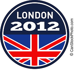 londyn, 2012, brytyjski, zrzeszeniowa dźwigarka, bandera