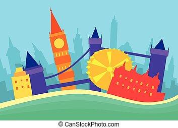 londyn, abstrakcyjny, sylwetka na tle nieba, miasto, drapacz...