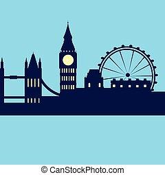 londyn, abstrakcyjny, sylwetka na tle nieba, miasto, drapacz chmur, sylwetka