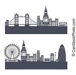 londyn, abstrakcyjny, sylwetka, sylwetka na tle nieba, tło