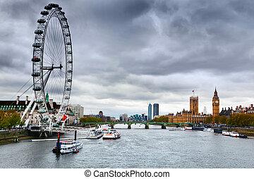 londyn, anglia, cielna, oko, londyn, uk, skyline., thames ...