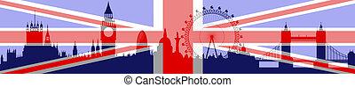 londyn, bandera, wektor, -, sylwetka na tle nieba