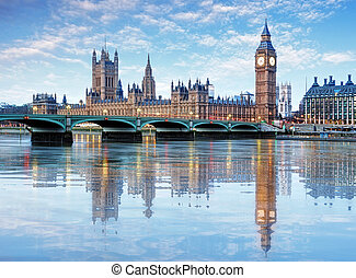 londyn, -, cielna ben, i, domy parlamentu, uk