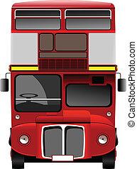 londyn, dekorator, podwójny, czerwony, bus., vec