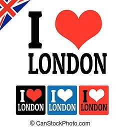 londyn, etykiety, miłość, znak