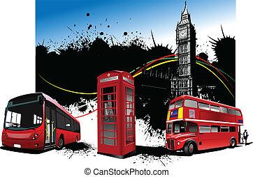 londyn, images., wektor, czerwony, rzadkość