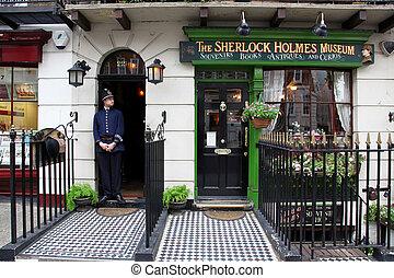 londyn, -, jun, 6:, sherlok, kępy, muzeum, w, piekarz,...