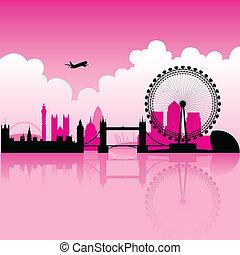 londyn, magenta, sylwetka na tle nieba