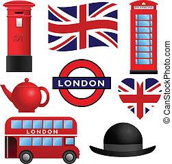 londyn, podróż, -, uk, ikony