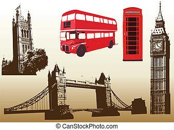 londyn, punkty orientacyjny, wektor, różny, ilustracja