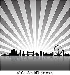 londyn, słoneczny, tło