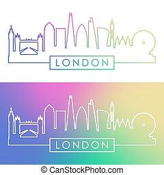 londyn, skyline., barwny, linearny, style.