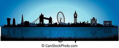 londyn, skyline przedstawią w sylwecie, noc