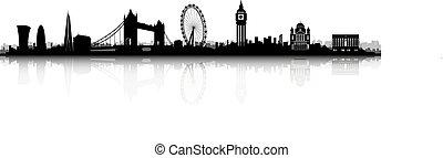 londyn, skyline przedstawią w sylwecie