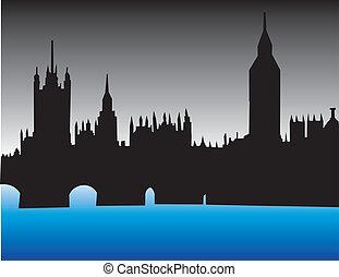 londyn, sylwetka na tle nieba, anglia