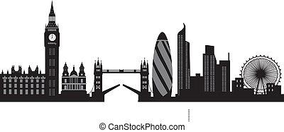 londyn, sylwetka na tle nieba