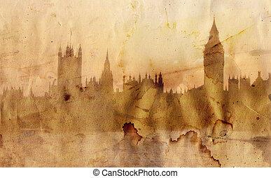 londyn, sylwetka na tle nieba, w, artystyczny, styl