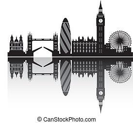 londyn, sylwetka na tle nieba, w, szczegół
