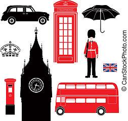 londyn, -, sylwetka, symbol, ikony