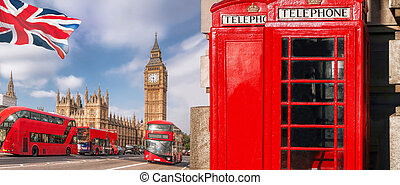 londyn, symbolika, z, cielna ben, podwójcie się bardziej pokładowy autobus, i, czerwona głoska, stragany, w, anglia, uk