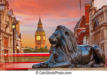 londyn, trafalgar plac, lew, i, cielna ben