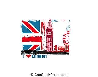 londyn, ułożyć, grunge, ikony