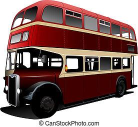 londyn, wektor, dekorator, podwójny, czerwony, bus., ilustracja
