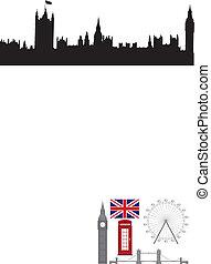 londyn, wektor, icons., symbol, ilustracja