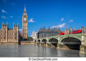 londyn, z, czerwony, autobusy, przeciw, cielna ben, w,...