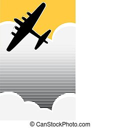 Lone Bomber - Lone World War II bomber in the clouds in...
