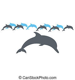 Lone Dolphin illustration silhouette on a white background.