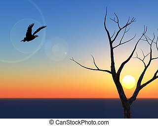 Lone Eagle Sunset - A lone eagle and tree against a horizon...