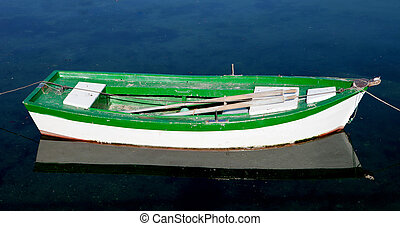 Lone green and white boat on a calm sea