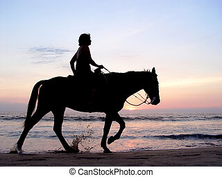 lone, rider, hos, solnedgang