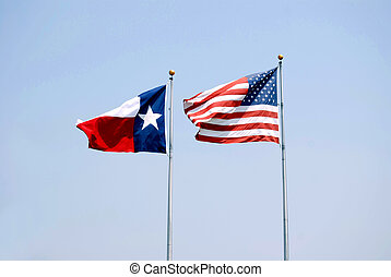 Lone Star and Old Glory - Texas Flag and American Flag