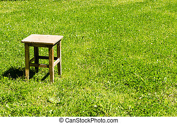 Lone stool on meadow