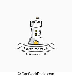 Lone Tower Abstract Vector Sign, Icon, Label or Logo Template in Line Style. Stronghold with a Flag and Typography Banner.