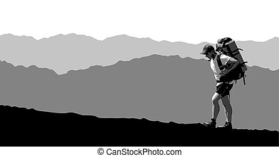 man with a backpack going up the hill. mountains in the background. vector illustration