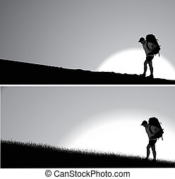 Lone traveler - Man with a backpack going up the hill. ...