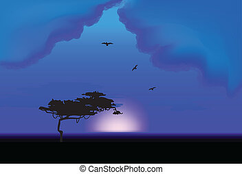 Lone Tree At Night. Vector