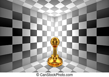 Loneliness (gold pawn-chess metaphor). 3D illustration rendering.