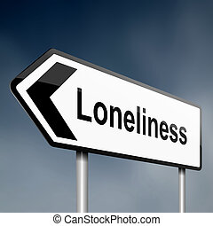 Loneliness - illustration depicting a sign post with ...