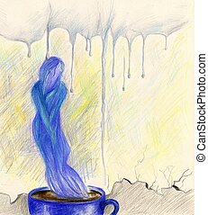 Loneliness in a cup of coffee - Abstract handpainted picture...