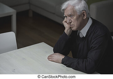 Loneliness in old age - Old age man feel lonely and...