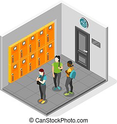 Loneliness isometric recolor vector illustration with sad girl turned away from her friends in school interior