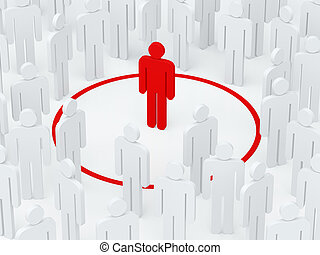 Loneliness man surrounded red circle among crowd (3D render)...