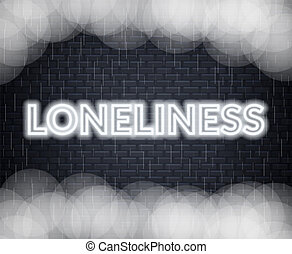 Loneliness neon lettering. Sad mood. Vector illustration